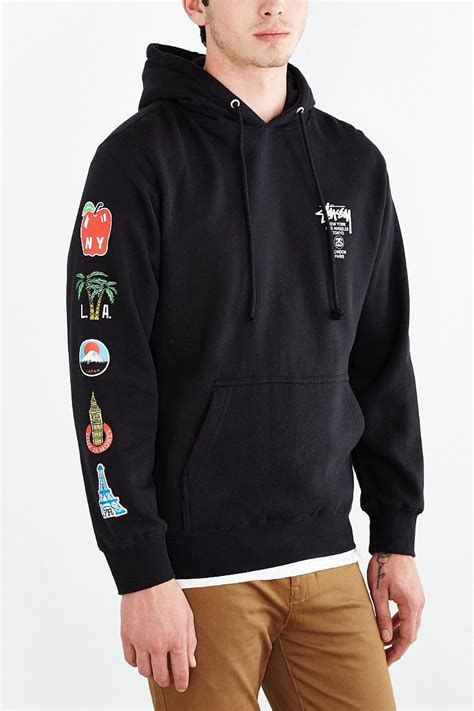 Sweater Hoodie Globe Int Est stussy world tour flags pullover hoodie sweatshirt in black for lyst