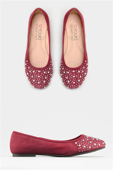 burgundy black colour block top gem embellishment burgundy diamante ballerina pumps in eee fit sizes 4eee