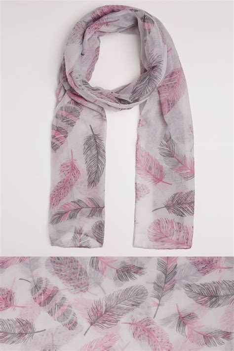 German Email Address Finder Grey Pink Feather Print Scarf