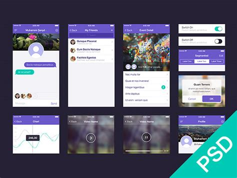 apps themes psd ui set for app design psd freebiesbug