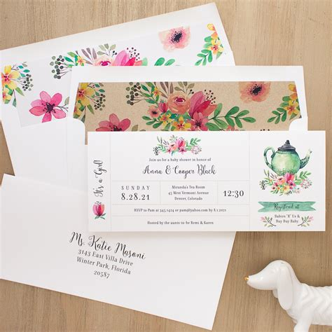 Tea Time Baby Shower by Tea Time Baby Shower Invites With Envelope Liners Beacon