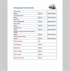 emergency contact list template emergency contact list template