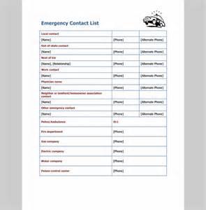 Emergency Call List Template Emergency Contact List Template
