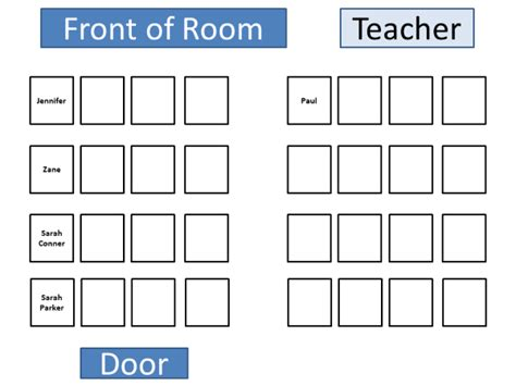 seating chart template classroom classroom table seating chart template