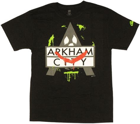 T Shirt Batman Arkham City Bat002 batman arkham city joker logo t shirt