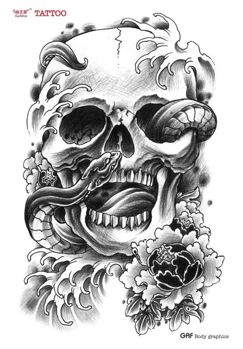 black skull tattoo designs 30 snake skull tattoos design