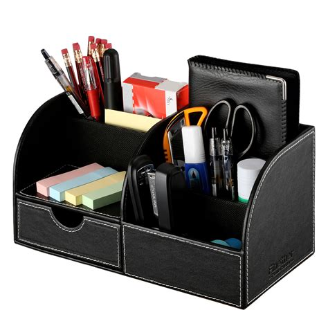Desk Organizer Multifunctional Pu Leather Office Home Pencil Desk Organizer