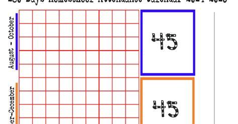 180 Day Calendar Schooling Stuff 180 Days Homeschool Attendance Calendar
