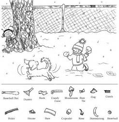 Hidden object printable worksheets and winter printable hidden object