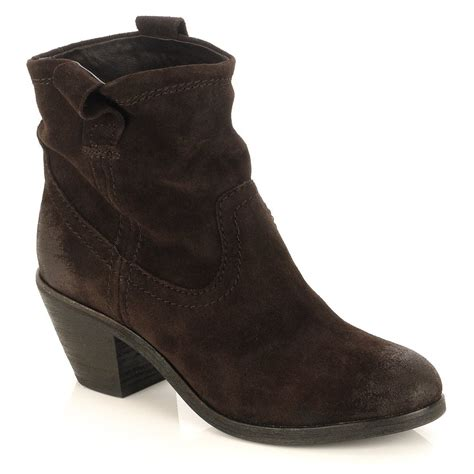 boot shoes brown suede western style ankle boot