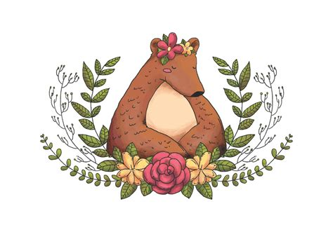 Forest Colorful Flower Crown animal forest with flower crown leaves and