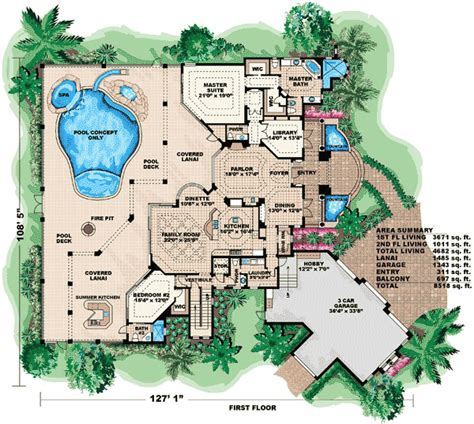 massive house plans massive lanai for outdoor entertaining 66128we
