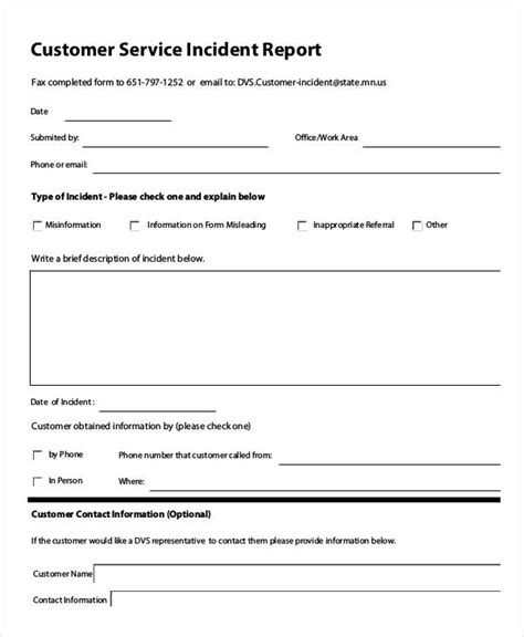 customer incident report form template customer report form images