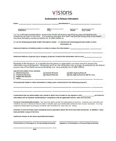authorization release form 7 release of information form sles sle