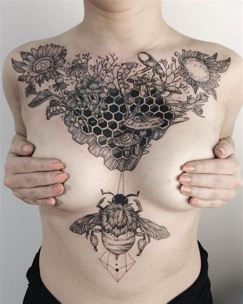 Art Nouveau Flower Tattoo - honeycomb on girls chest best tattoo ideas amp designs