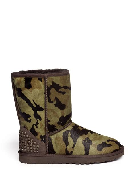 ugg rowland camouflage calf hair boots in green lyst