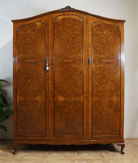 triple armoire queen anne french style fitted burr walnut triple wardrobe armoire 275147