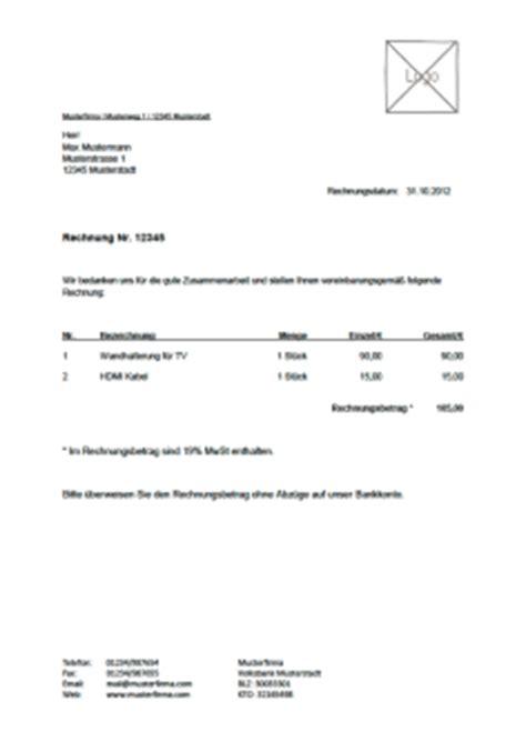 Musterrechnung F R Transport kostenlose rechnungvorlage musterrechnung u a als pdf