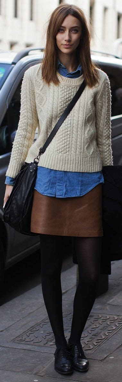 hot sea ladies bags women s beige cable sweater blue denim shirt brown