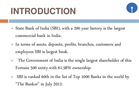 brief introduction sbi bank sbi introduction