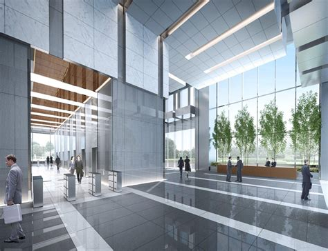 Glass Ceiling Lobbies by Goettsch Partners Designs Poly Business Tower