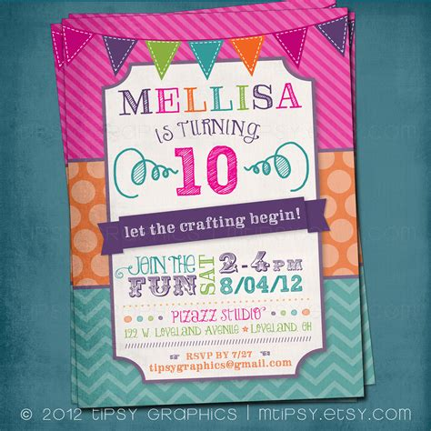 Fun & Colorful Craft Art Birthday Party or Shower Invite by