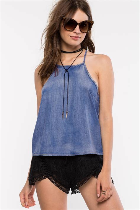 Halter Top popular denim halter top buy cheap denim halter top lots from china denim halter top suppliers