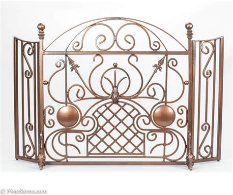 Copper Fireplace Screen One Of A Custom Copper Iron Fireplace Screen