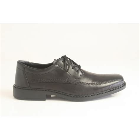 rieker rieker lace up shoe in black leather with an