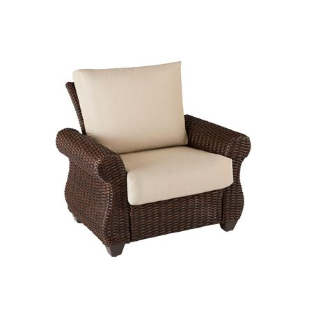 Woven Patio Chairs Hton Bay Mill Valley Fully Woven Patio Lounge Chair With Parchment Cushion 153 002 Lc The
