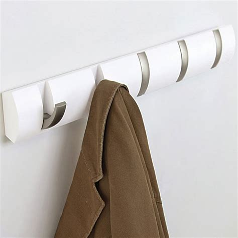Funky Coat Hooks umbra flip hook white 5 hook coat rack