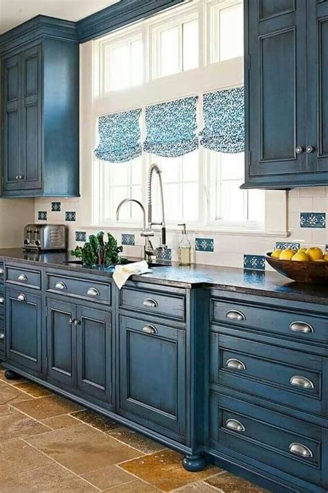 Country Blue Kitchen Cabinets by Color Country Shabby Chic Cottage