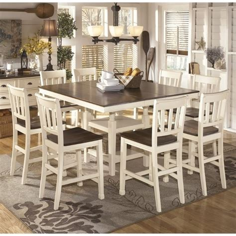 9 piece counter height dining room sets ashley whitesburg 9 piece counter height dining set in