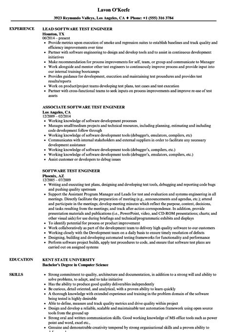 resume templates for software test engineer software test engineer resume sles velvet