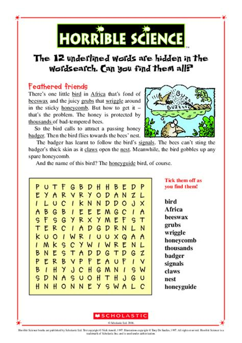 How To Do A Free Asset Search Horrible Science Wordsearch Scholastic Club