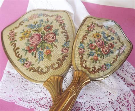 Vintage Dresser Set by Vintage Dresser Set Vanity Set Hairbrush Mirror Hair