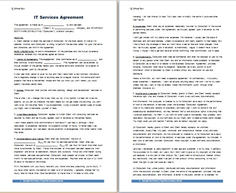 it services agreement contract template ms word it services agreement template free agreement