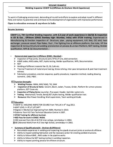 Ndt Work Experience Letter Welding Inspector Resume Http Resumesdesign Welding Inspector Resume Free Resume