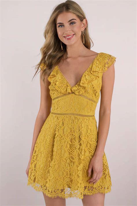 chagne color lace dress skater dress summer dress ruffle sleeve dress