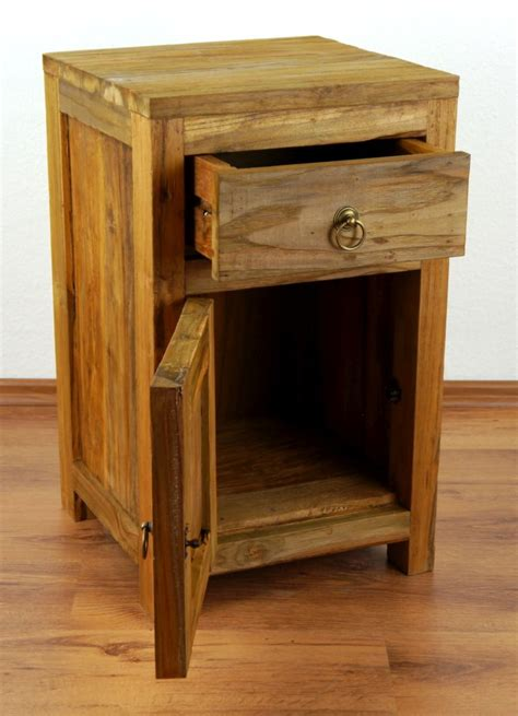 Buy Handmade Furniture - reclaimed teak wood bedside table rustic look small