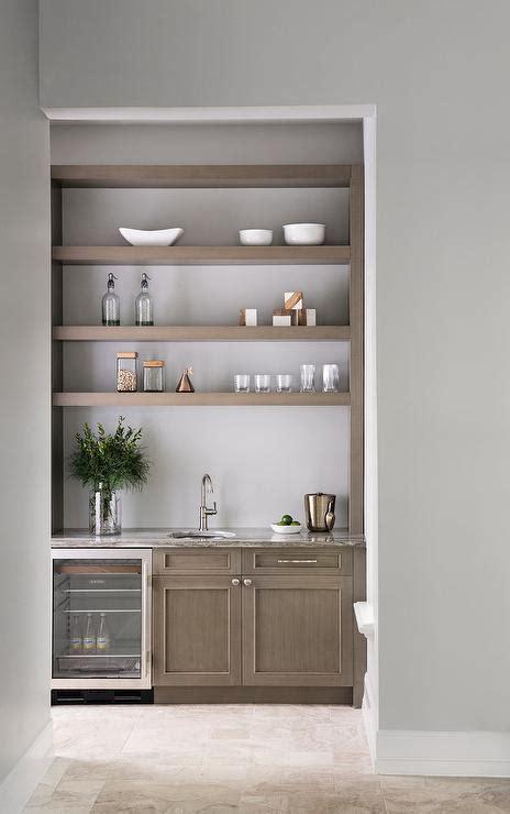 gray wash wood floating shelves  cabinets