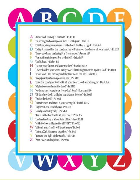 Letter Using Bible Verses Abc Scriptures Pdf For Sunday School Teaching And Abc Bible Verses