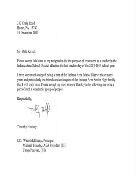 Resignation Letter To Principal Pdf 11 resignation letter sles and templates pdf