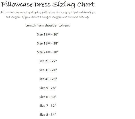 dress pattern size chart size chart for pillowcase dress pattern pillowcase