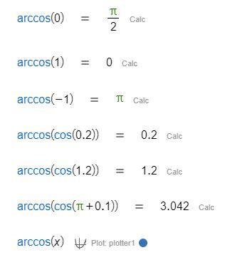 calculator arccos arccosine wiris documentation