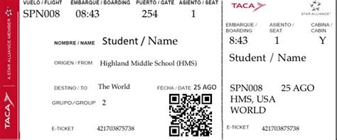 make an airline ticket with your students name and class information on it use these