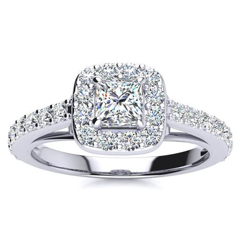 2ct princess cut halo engagement ring in 14k white
