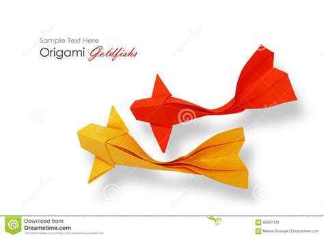 origami paper goldfish stock image image of pair