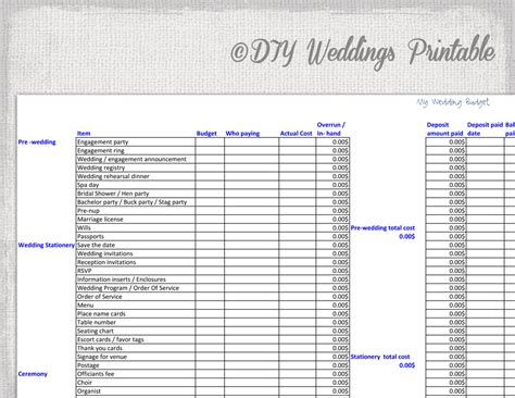 Printable Wedding Budget Spreadsheet by Wedding Budget Spreadsheet Printable Wedding Budget Template