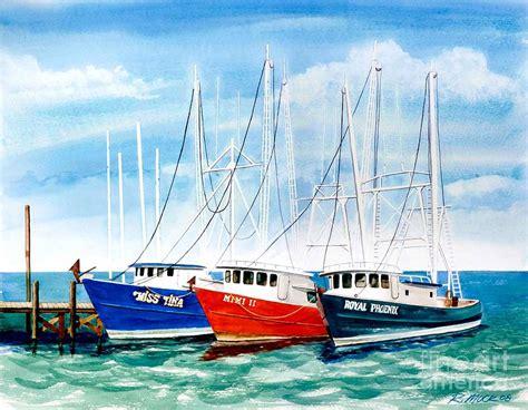 shrimp boat docks near me shrimp boats in biloxi painting by rick mock